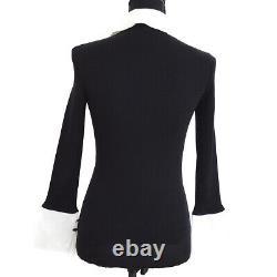 CHANEL 07P #34 CC Logos Button Long Sleeve Knit Tops Black White AK46206