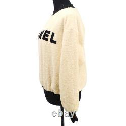 CHANEL 28 #36 Round Neck CC Logos Long Sleeve Tops Ivory Black Authentic 39902