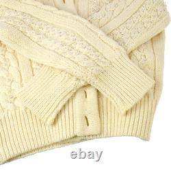 CHANEL 30794 #38 Imitation Pearl Long Sleeves Knit Tops Cardigan Ivory NR14919