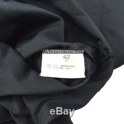 CHANEL #42 CC Logos Cropped Top Long Sleeve Tops Black Authentic Vintage GS02731