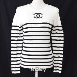 CHANEL 94P #40 CC Border Long Sleeve Tops Shirts Black White Authentic GS02545
