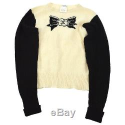 CHANEL 95A #38 CC Bow Charm Long Sleeve Knit Tops Black Ivory NR12992b