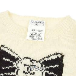 CHANEL 95A #42 CC Bow Charm Long Sleeve Knit Tops Black Ivory Authentic AK42698