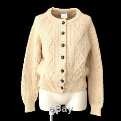 CHANEL 96A #42 CC Button Long Sleeves Knit Tops Cardigan Ivory A49058