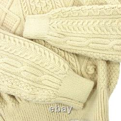 CHANEL 96A #42 Turtleneck Long Sleeve Sweater Tops Ivory Wool GS01630k