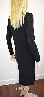 CHANEL Black Viscose Long Classic Fancy Long Sleeve Top Size 40/6 On Sale sy