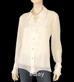 CHANEL Blouse Ivory Silk Long Sleeve Top 46 US 14