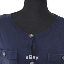 CHANEL CC Logos Button Long Sleeve Cardigan Tops Navy Authentic GS01635b