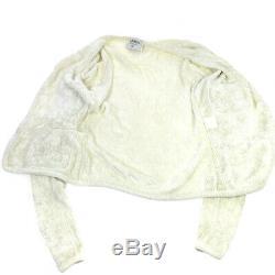 CHANEL CC Logos Button Long Sleeves Knit Tops Cardigan White K08317j