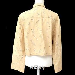 CHANEL CC Logos Long Sleeve Tops Blouse Shirt Beige Cotton Authentic Y04256