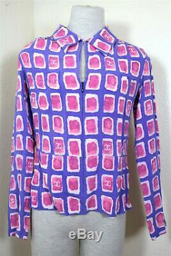CHANEL CC Logos Purple SIlk Siz Long Sleeves Blouse Top Shirt Sz 38 4 5 6 Small