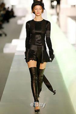 CHANEL Catwalk 03A Black Satin & Knit Long Sleeve Dress/Long Top Size F38 UK 10