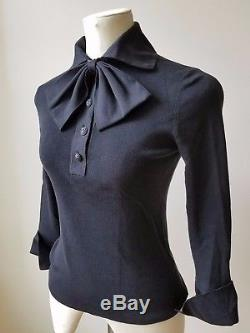 CHANEL Cotton Knits Polo Shirt Top With Bow Black Long Sleeve Size 40