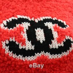 CHANEL Logos Long Sleeve Tops Size 38 Red Wool Acrylic Italy Authentic #HH761 I
