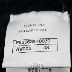 CHANEL Logos Long Sleeve Tops Size 48 Navy Wool Acrylic Italy Authentic #II234 I