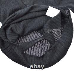 CHANEL Round Neck CC Logos Long Sleeve Knit Tops Black Cashmere Silk 02357