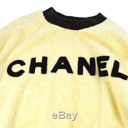 CHANEL Round Neck CC Long Sleeve Tops Sweatshirt Ivory Black Authentic AK42506