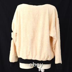 CHANEL Round Neck Side CC Long Sleeve Tops Ivory Black Authentic 00705