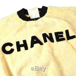 CHANEL Round Neck Side CC Long Sleeve Tops Ivory Black Authentic A46562c