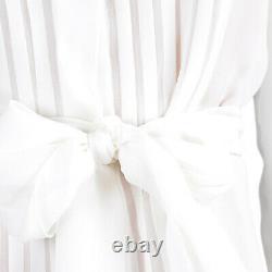 CHANEL Tan & Ivory White Sheer Silk Ruffle Top