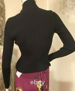 CHANEL Turtleneck Long Sleeves ribbed Knit Tops Black MEDE IN ITALY size 44