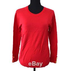 CHANEL Vintage CC Logos Button Long Sleeve Tops Red #36 Authentic AK36838k