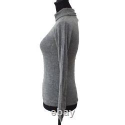 CHANEL Vintage CC Logos Long Sleeve Tops Gray #38 Cashmere AK36839b