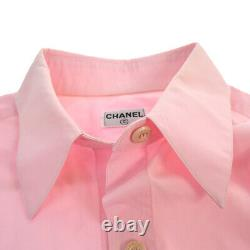 CHANEL Vintage CC Logos Long Sleeve Tops Shirt Pink Authentic AK37963c