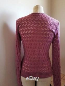 CHANEl pink knitted cashmere cc logo long sleeves sweater top 40 France