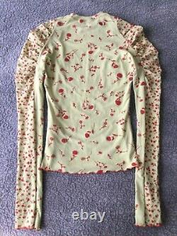CHARLOTTE KNOWLES grass red green halcyon long-sleeve t-shirt top size medium
