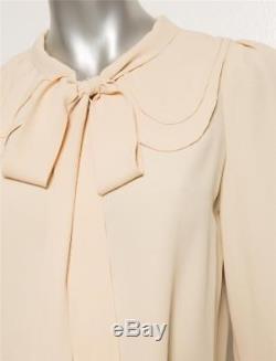 CHLOE Womens Nude Beige Crepe Tie-Front Cropped Crop Long Sleeve Top Blouse 4-36