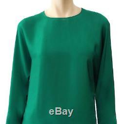 CH CAROLINA HERRERA Emerald Green Long Sleeve Silk Blouse Top L NEW