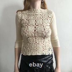 COMME DES GARCONS Ivory Crochet Panel Three Quarter Sleeve Top