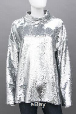 CREATURES OF COMFORT NEW Silver Sequin VE Smocked Neck Long Sleeve Blouse Top 4