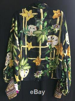 Camilla Franks Silk Swarovski Eden Split Long Sleeve Button Front Shirt Top