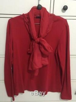 Carolina Herrera Red Monogram Pussycat Bow Long Sleeves Top Size L Silk Scarf