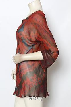 Carter & Teri Shibori Silk Red Aqua Blue Tie Dye Long Sleeve Blouse Top Sz M NEW