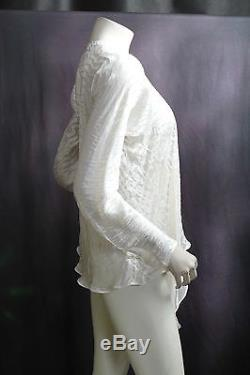 Carter & Teri Shibori White Front Tie Long Sleeve Silk Blouse Top Shirt Sz M NEW