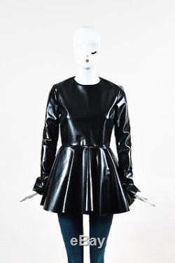 Celine NWT $795 Faux Leather Long Sleeve Peplum Top SZ 38