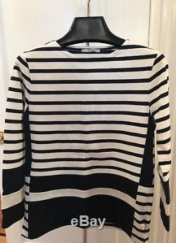Celine Shirt Top Navy and White Striped Long Sleeve Cotton Size XS