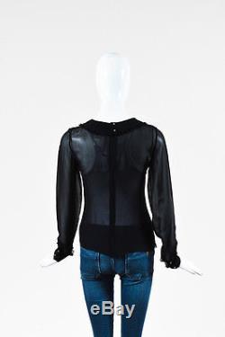 Chanel 02A Black Sheer Silk Chiffon Ruffle Trim Long Sleeve Blouse Top SZ 36