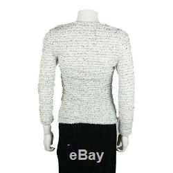 Chanel 2018 Shirt Tweed White & Black Long-Sleeve Top CC US 2 34