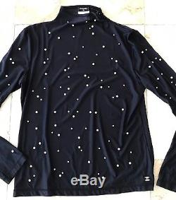 Chanel Back Nylon With Pearls Long Sleeve Blouse Top Size 42