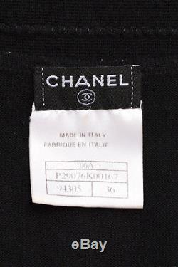 Chanel Black Cashmere Silk Blend Ribbed Wrap Front Long Sleeve Top SZ 36
