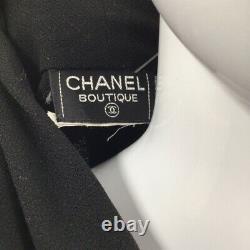 Chanel Boutique Womens Crop Top Black Long Sleeve Gold Buttons Surplice Wrap S