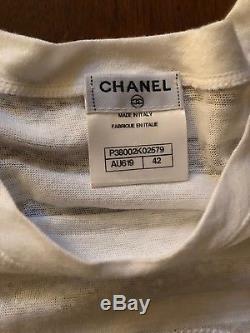 Chanel CC Logo White Long sleeve Top Blouse T-shirt Cotton / Linen Sz 42