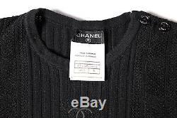 Chanel CC Top Us 4 36 Black Long Sleeve Shirt Buttons Logo 2005 05c