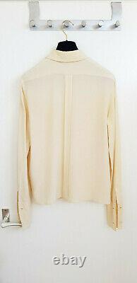 Chanel Ecru Ivory Silk Long Sleeve Gold Plated Clover Button Top Blouse Shirt