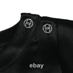 Chanel New 2018 CC Crystal Button Top Black Silk Shirt US 6 38 18A