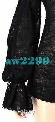 Chanel Pre-fall 2015 Black Long Sleeve Wool Blouse Top 36 CC Logo New Rare